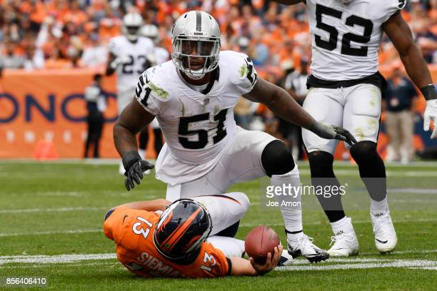 Bruce Irvin of the Oakland Raiders celebrates after sacking Trevor Siemian of the Denver Broncos during the second quarter on Sunday October 1 2017...