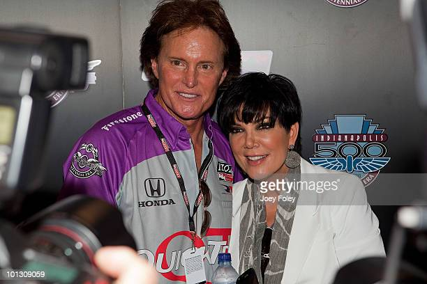 Bruce Jenner and his wife Kris Jenner pose for photos in the green room before the start of the 94th running of the Indianapolis 500 at the...