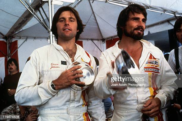 Bruce Jenner with James Brolin at the 4th United States Grand Prix West in Long Beach, California on April 8, 1979 in Long Beach, California.