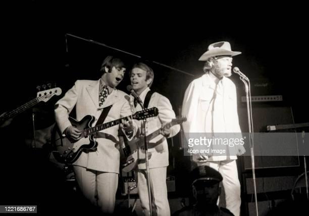 Bruce Johnston, Carl Wilson and Al Jardine of American pop group The Beach Boys play the Sam Houston Coliseum in Houston, TX, on April 21, 1968.
