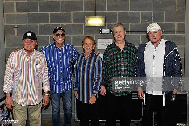 Bruce Johnston David Marks Al Jardine Brian Wilson and Mike Love of The Beach Boys pose backstage before their very last show on their 50th...