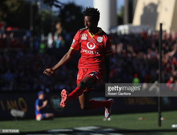 Bruce Kamau of Adelaide United celebrates after scoring a goal during the 2015/16 ALeague Grand Final match between Adelaide United and the Western...