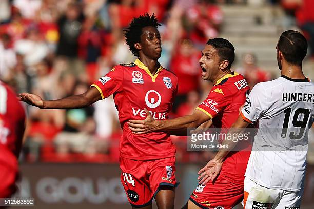 Bruce Kamau of Adelaide United celebrates with teammates after he scored a goal during the round 21 ALeague match between Adelaide United and the...