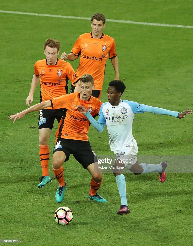 Bruce Kamau of Melbourne City runs with the ball during the round 19 A-League match between Melbourne City FC and the Brisbane Roar at AAMI Park on February 11, 2017 in Melbourne, Australia.