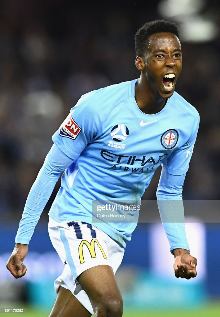 Bruce Kamau of the City celebrates scoring a goal during the round two A-League match between Melbourne Victory and Melbourne City FC at Etihad Stadium on October 14, 2017 in Melbourne, Australia.