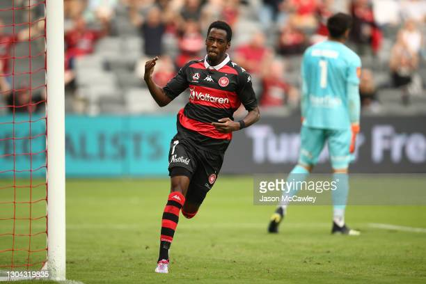 Bruce Kamau of the Wanderers celebrates after scoring a goal during the A-League match between the Western Sydney Wanderers and Adelaide United at...