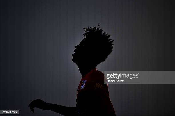 Bruce Kamau of United looks on during an Adelaide United ALeague training session at Coopers Stadium on April 30 2016 in Adelaide Australia