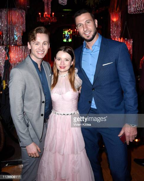 Bruce Langley Emily Browning and Pablo Schreiber attend the American Gods Season Two Red Carpet Premiere Event on March 5 2019 in Los Angeles...