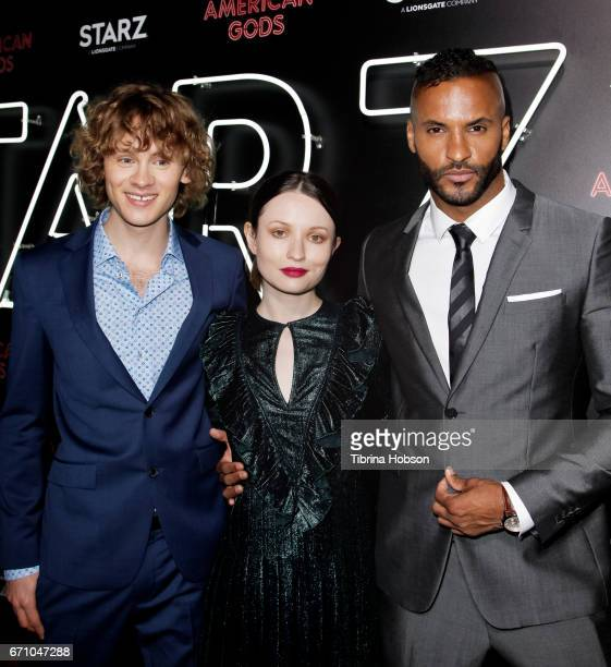 Bruce Langley Emily Browning and Ricky Whittle attend the premiere of Starz's 'American Gods' at ArcLight Cinemas Cinerama Dome on April 20 2017 in...