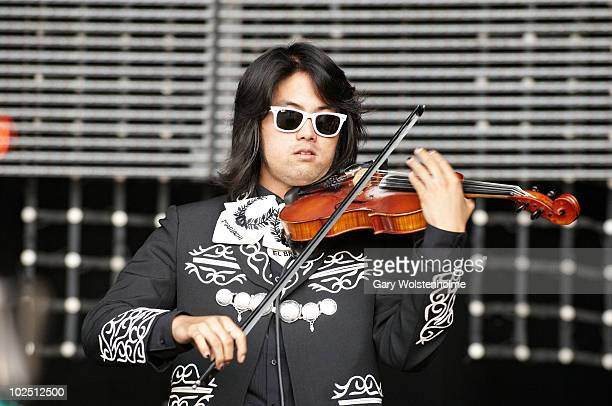 Bruce Lee of Mariachi El Bronx performs on stage on the second day of Glastonbury Festival at Worthy Farm on June 25 2010 in Glastonbury England