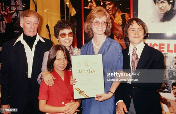 Bruce Lee's Mother wife Linda children Brandon and Shannon celebrate Bruce Lee Day circa 1979 in Los Angeles California