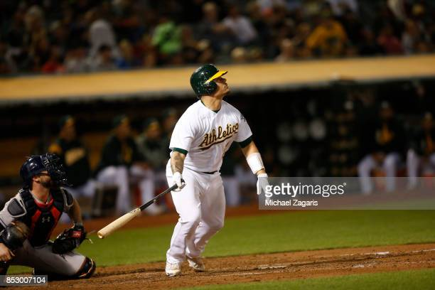 Bruce Maxwell of the Oakland Athletics bats during the game against the Houston Astros at the Oakland Alameda Coliseum on September 8 2017 in Oakland...