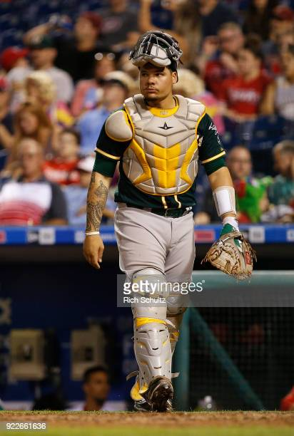 Bruce Maxwell of the Oakland Athletics in action against the Philadelphia Phillies during a game at Citizens Bank Park on September 15 2017 in...