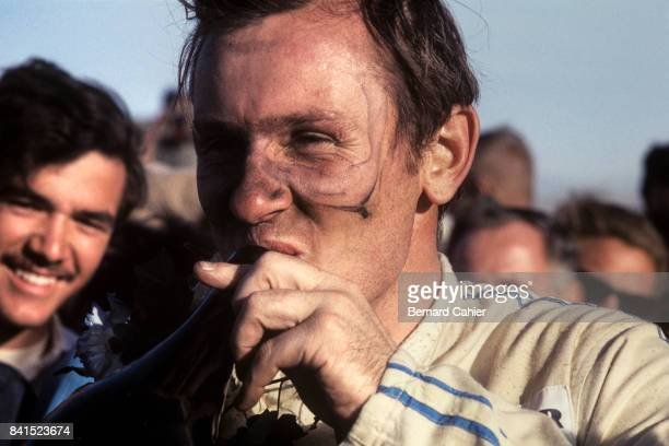 Bruce McLaren Los Angeles Times Grand Prix CanAm Riverside 29 October 1967 A happy Bruce McLaren after winning the CanAm round in Riverside driving...