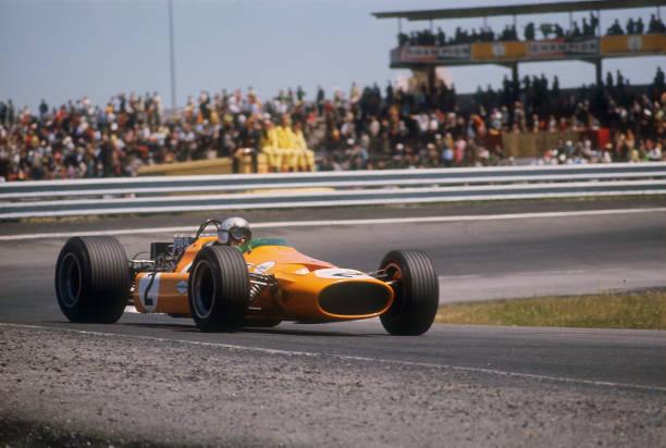 Bruce McLaren's McLaren-Ford, Spanish Grand Prix, Jarama, Madrid, 1968.