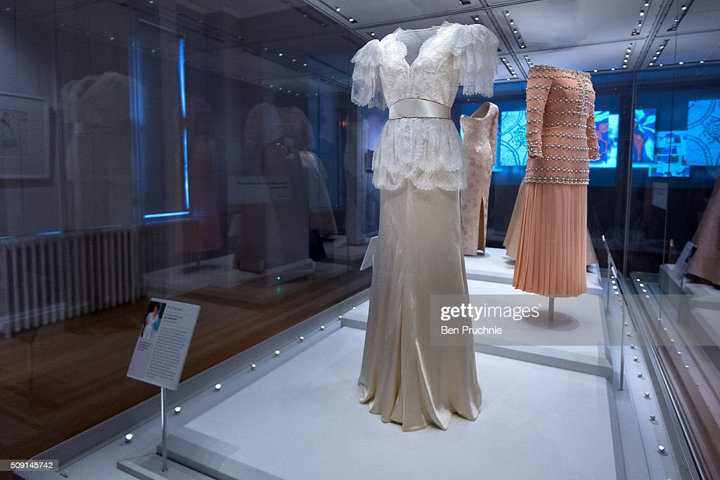 A Bruce Oldfield dress that was worn by Princess Diana is displayed at the Fashion Rules Exhibition at Kensington Palace on February 9, 2016 in London, England. The exhibition, that re-opens to the public on February 11 contains pieces including the dress Queen Elizabeth II wore for her official Silver Jubilee photograph and a dress worn by Diana, Princess of Wales for her last official photo shoot with famed photographer Mario Testino