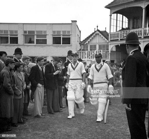 Bruce Pairaudeau and Everton Weekes of West Indies walking out to bat during the tour match between Hampshire and West Indies at Southampton 14th...