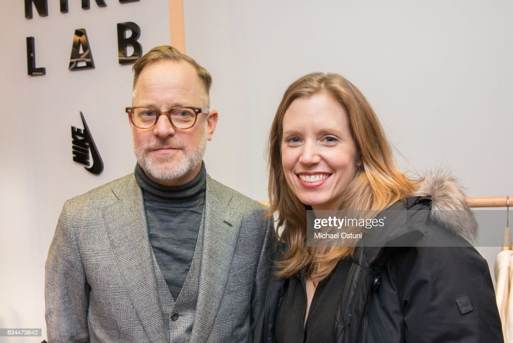 Bruce Pask and Jennie Bell attend Bergdorf Goodman Celebrates the New NikeLab Opening in Goodman's Men's Store at on February 9, 2017 in New York City.
