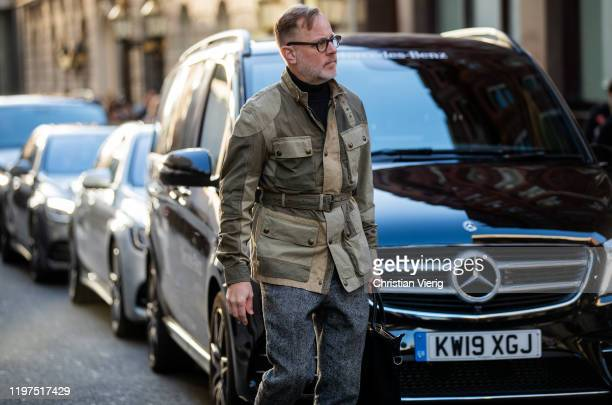 Bruce Pask is seen wearing olive green multi tone jacket outside Edward Crutchley during London Fashion Week Men's January 2020 on January 04 2020 in...