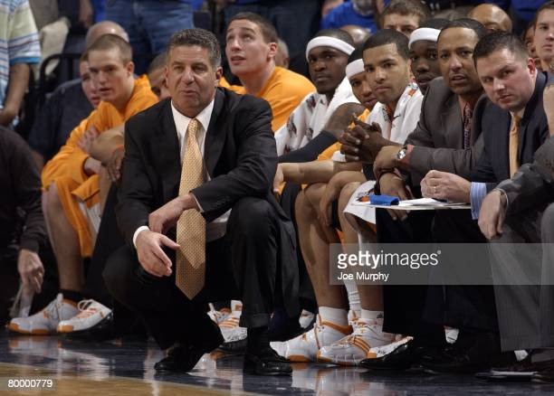 Bruce Pearl, head coach of the Tennessee Volunteers looks on during a game against the Memphis Tigers at FedExForum on February 23, 2008 in Memphis,...