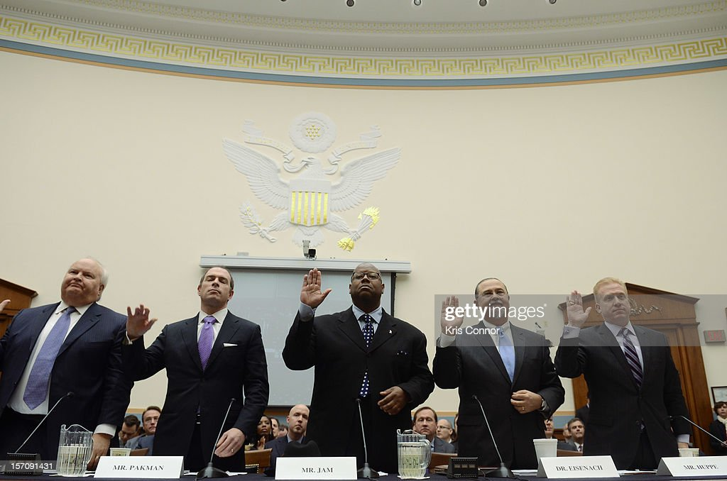 Bruce Reese, David Pakman, Jimmy Jam, Jeffrey A. Eisenach and Michael Huppe are sworn in during a House of Representatives Judiciary subcommitte on Intellectual Property, Competition and the Internet titled 'Music Licensing Part One: Legislation in the 112th Congress' in the Rayburn House Office Building at U.S. House of Representatives on November 28, 2012 in Washington, DC.