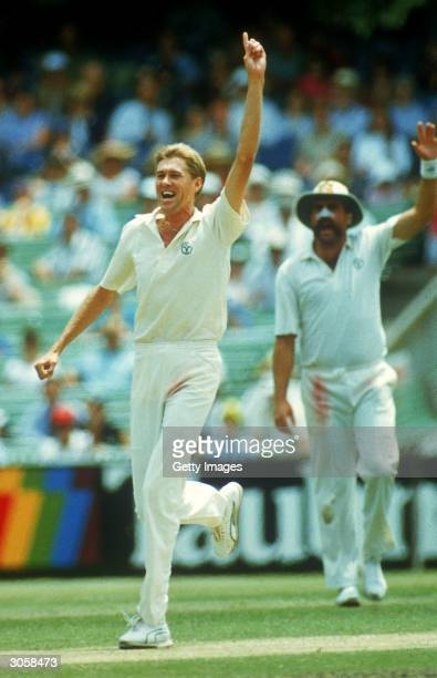 Bruce Reid of Australia celebrates after claiming a wicket during the Second Test match between Australia and India held at the Melbourne Cricket...