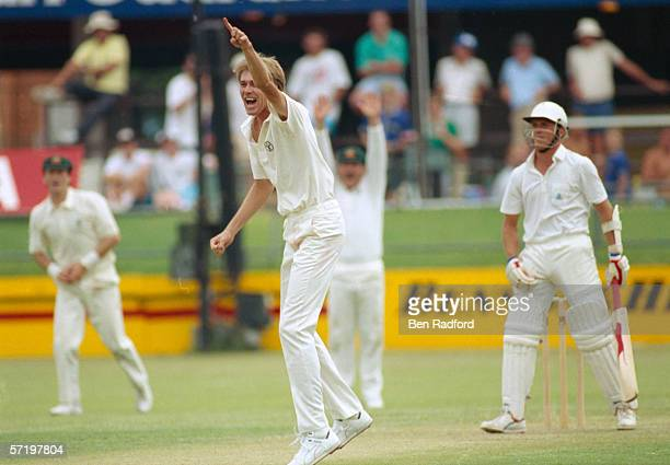 Bruce Reid of Australia sucessfully appeals for LBW on Alec Stewart of England during the Ashes First Test match between Australia and England held...