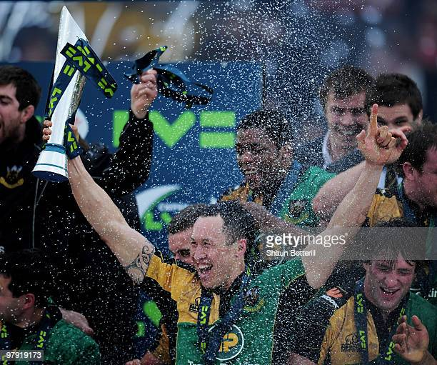 Bruce Reihana of Northampton celebrates with the trophy at the end of the LV Anglo Welsh Cup Final between Gloucester and Northampton Saints at...