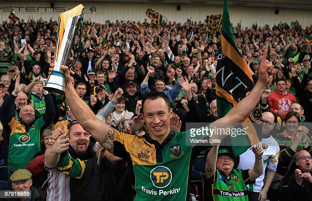 Bruce Reihana of Northampton Saints celebrates with the trophy in front of the Northampton Saints fans after winning the LV Anglo Welsh Cup Final...