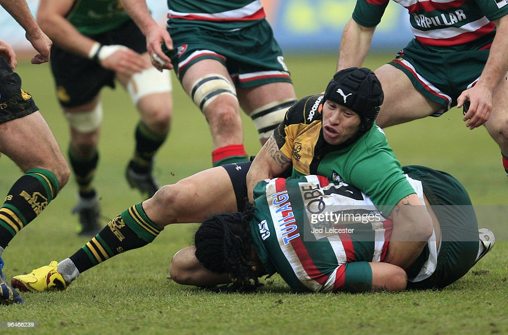 Bruce Reihana of Northampton Saints, on his 200th club appearance, tackles Alesana Tuilagi of Leicester Tigers during the LV Anglo Welsh Cup match between Northampton Saints and Leicester Tigers at the Sixfields Stadium, on February 6, 2010 in Northampton, England.