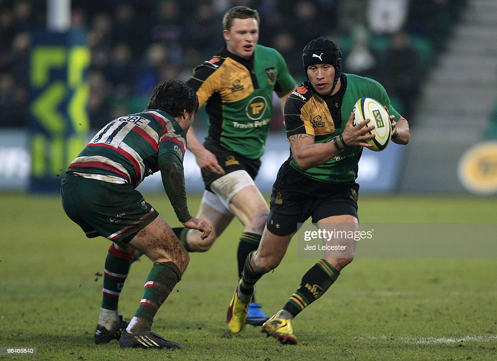 Bruce Reihana of Northampton Saints, on his 200th club appearance, tries to pass Matt Smith of Leicester Tigers during the LV Anglo Welsh Cup match between Northampton Saints and Leicester Tigers at the Sixfields Stadium, on February 6, 2010 in Northampton, England.