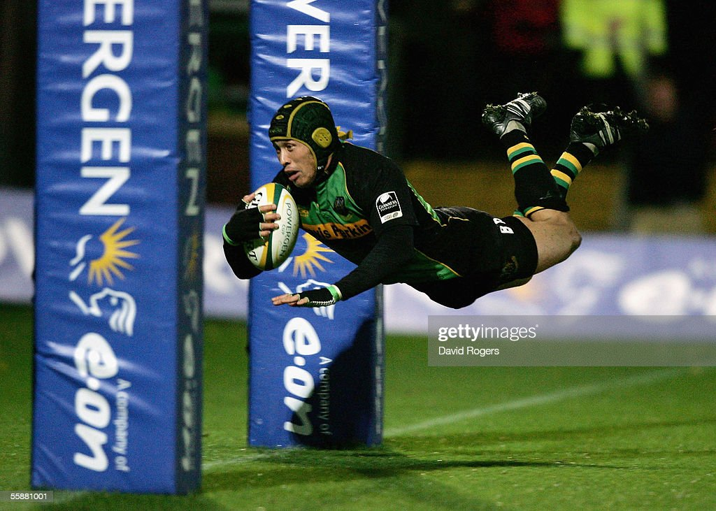 Bruce Reihana, the Northampton captain, dives over to score a try during the Powergen Cup match between Northampton Saints and Newport Gwent Dragons at Franklin's Gardens on October 8, 2005 in Northampton, England.