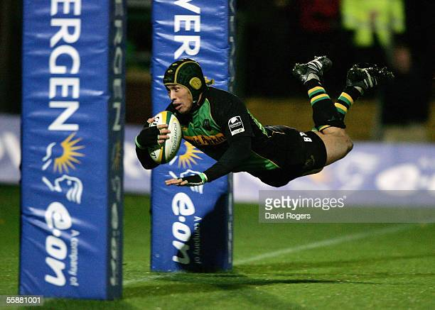 Bruce Reihana, the Northampton captain, dives over to score a try during the Powergen Cup match between Northampton Saints and Newport Gwent Dragons...