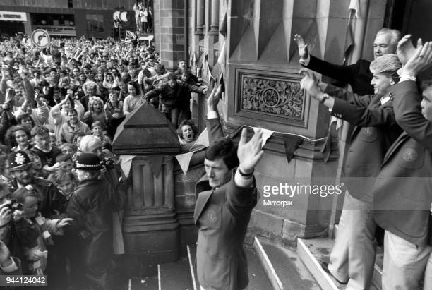 Bruce Rioch and Middlesbrough FC fans celebrate after winning second successive promotion this time as winners of the second division promotion/First...
