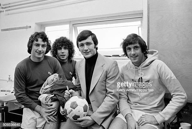 Bruce Rioch has signed for Birmingham City and is welcomed by some of his new teammates at the training ground Elmdon Heath near Birmingham 12th...