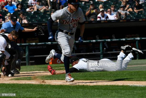 Bruce Rondon of the Chicago White Sox can't catch a bunt single hit by JaCoby Jones of the Detroit Tigers on June 16 2018 at Guaranteed Rate Field in...