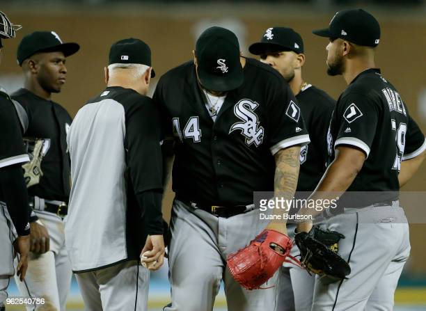 Bruce Rondon of the Chicago White Sox is pulled by manager Rick Renteria of the Chicago White Sox after giving up a gametying hit to Nicholas...