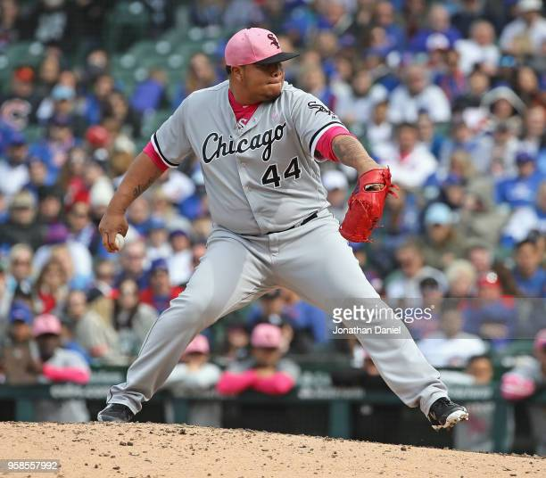 Bruce Rondon of the Chicago White Sox pitches in the 9th inning for a save against the Chicago Cubs at Wrigley Field on May 13 2018 in Chicago...