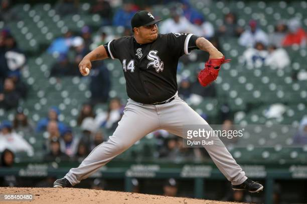 Bruce Rondon of the Chicago White Sox pitches in the eighth inning against the Chicago Cubs at Wrigley Field on May 12 2018 in Chicago Illinois
