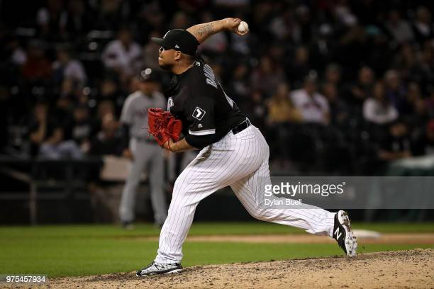 Bruce Rondon of the Chicago White Sox pitches in the eighth inning against the Cleveland Indians at Guaranteed Rate Field on June 11 2018 in Chicago...