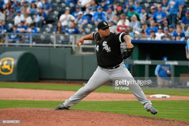 Bruce Rondon of the Chicago White Sox throws against the Kansas City Royals at Kauffman Stadium on April 29 2018 in Kansas City Missouri Bruce Rondon