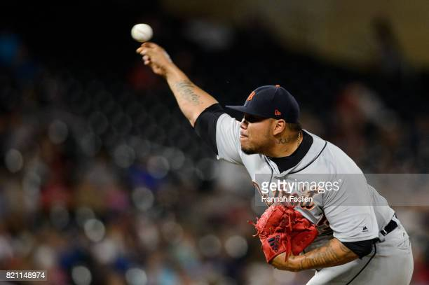 Bruce Rondon of the Detroit Tigers delivers a pitch against the Minnesota Twins during the game on July 21 2017 at Target Field in Minneapolis...