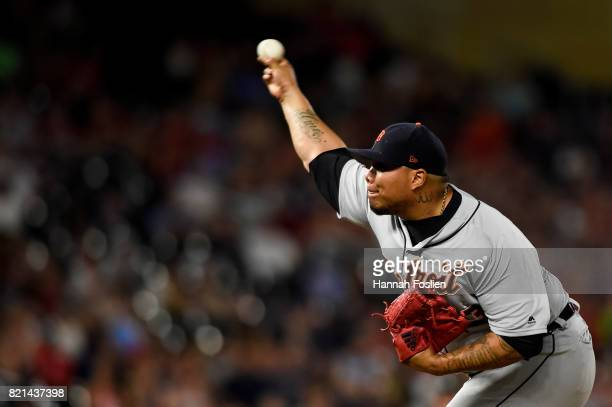 Bruce Rondon of the Detroit Tigers delivers a pitch against the Detroit Tigers during the game on July 22 2017 at Target Field in Minneapolis...