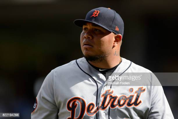 Bruce Rondon of the Detroit Tigers looks on during the game against the Minnesota Twins on July 23 2017 at Target Field in Minneapolis Minnesota The...
