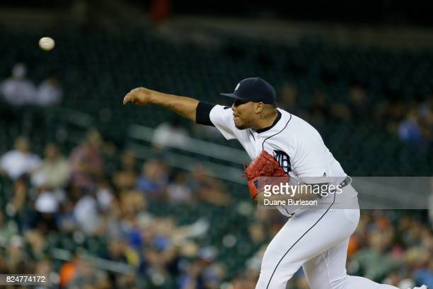 Bruce Rondon of the Detroit Tigers pitches against the Kansas City Royals at Comerica Park on July 26 2017 in Detroit Michigan
