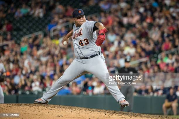 Bruce Rondon of the Detroit Tigers pitches against the Minnesota Twins on July 21 2017 at Target Field in Minneapolis Minnesota The Tigers defeated...