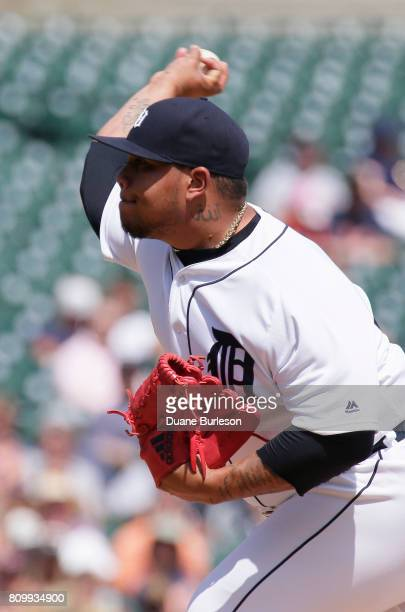 Bruce Rondon of the Detroit Tigers pitches against the San Francisco Giants during the eighth inning at Comerica Park on July 6 2017 in Detroit...