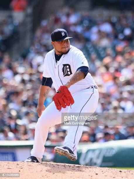 Bruce Rondon of the Detroit Tigers pitches during the game against the Boston Red Sox at Comerica Park on April 9 2017 in Detroit Michigan The Red...