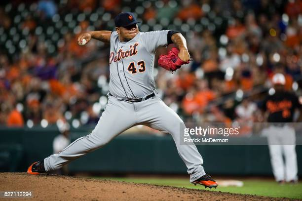 Bruce Rondon of the Detroit Tigers throws a pitch to a Baltimore Orioles batter in the ninth inning during a game at Oriole Park at Camden Yards on...