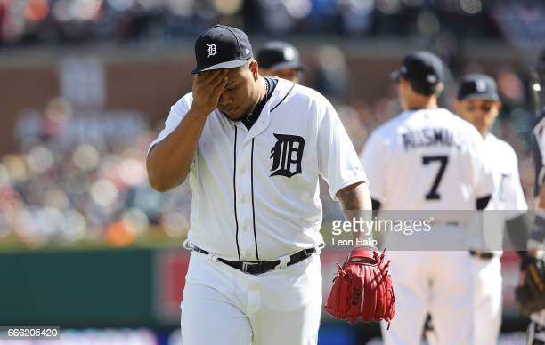 Bruce Rondon of the Detroit Tigers walks to the dugout after leaving the game during the eight inning on opening day against the Boston Red Sox on...